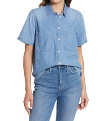 madewell denim short sleeve cotton button-up shirt, size xx-small in brickton wash at nordstrom