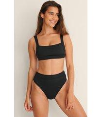 na-kd swimwear high waist wide rib bikini panty - black