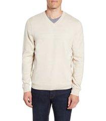 men's nordstrom men's shop cotton & cashmere v-neck sweater, size x-large - ivory