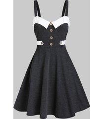 contrast trim mock button cami mini dress