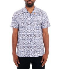 tallia men's ornate print short sleeve camp shirt