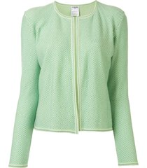 chanel pre-owned 2001 lurex detailing cardigan - green