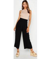 woven wide leg culottes, black