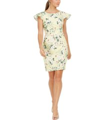 calvin klein ruffled cap-sleeve printed sheath dress