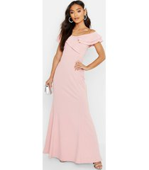 petite bardot frill fish tail maxi dress, soft pink