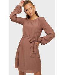 nly trend perfect belted dress långärmade klänningar brun