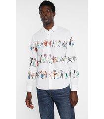 arty slim shirt 100% cotton - white - xxl