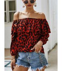 blusa con ribete de volantes leopardo fuera del hombro 3/4 longitud mangas rojo