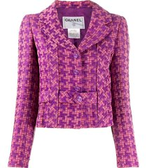 chanel pre-owned houndstooth pattern belted jacket - purple