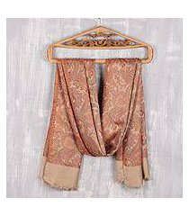 reversible modal shawl, 'acanthus garden' (india)