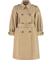 red valentino gabardine trench coat with puffed sleeves