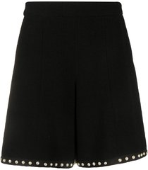 chanel pre-owned 2010s pearl-embellished wide-leg shorts - black