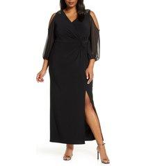 plus size women's alex evenings cold shoulder knot front gown