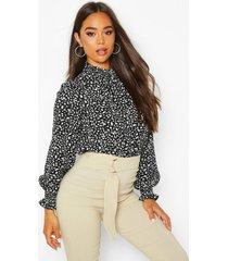 smudge print high neck sheered blouse, black