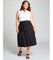 lane bryant women's knit kit tie-front skirt 22/24 black