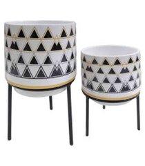 duo de cachepots de cerâmica triângulos e suporte