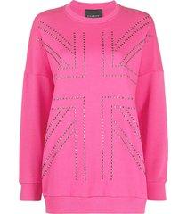 john richmond studded cotton-jersey sweatshirt - pink