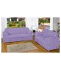 capa de sofá lilás 3 e 2 lugares com elástico