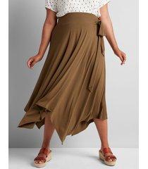 lane bryant women's faux-wrap midi skirt 18/20 dried sage