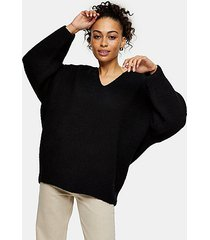 black ribbed v neck longline knitted sweater - black