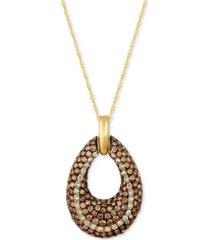 le vian chocolatier diamond open teardrop pendant necklace (1-9/10 ct. t.w.) in 14k gold