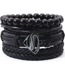 pulsera 4 manillas de cuero brazalete para mujeres y hombres-negro