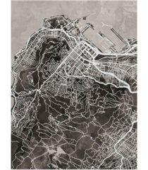 "michael tompsett cape town south africa city street map black canvas art - 20"" x 25"""