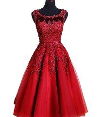 kivary sheer bateau tea length short lace pearls prom homecoming dresses wine re