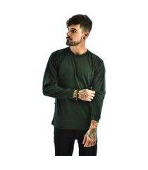 camiseta rich young básica lisa manga longa verde escuro