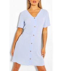 geweven jurk met knopen, blauw