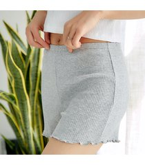 culotte stretch in cotone a volant
