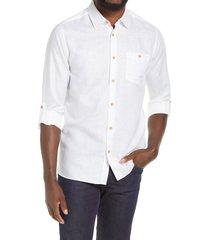 men's ted baker london sauss slim fit solid cotton & linen button-up shirt, size 3 - white
