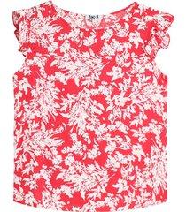 blusa manga corta con estampado hojas color rojo, talla m