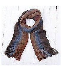 men's 100% alpaca scarf, 'outcropping stripes' (peru)