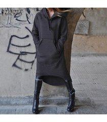 zanzea mujeres asimétrico vestido de la camiseta de la camisa encapuchado fleece midi vestido más del tamaño -gris oscuro