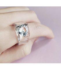 transparentny pierścionek z cyrkonią 10mm!