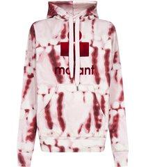 isabel marant étoile mansel logo tie-dye print cotton hoodie