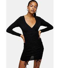 black bodycon ruched slinky dress - black