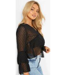 dobby mesh blouse met v-hals en ruches, black