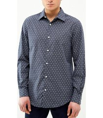 camisa casual estampada manga larga perry ellis