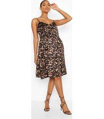 maternity woven leopard shift dress, tan