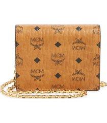 women's mcm visetos original flap wallet on a chain - brown