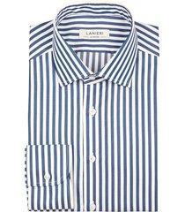 camicia da uomo su misura, grandi & rubinelli, blu riga medium natural stretch, quattro stagioni