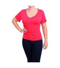blusa feminina t shirt babylook gola v manga dobrada vermelha