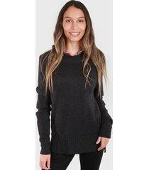 sweater basico melange negro polemic