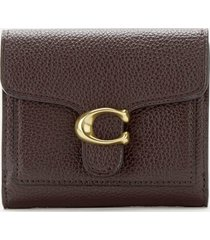 coach women's polished pebble tabby small wallet - oxblood