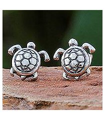 sterling silver stud earrings, 'tiny turtles' (thailand)