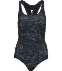 maiô para natação com proteção solar uv fila austrália print - adulto - preto