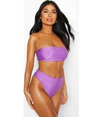 petite high waist bikini bottom, purple
