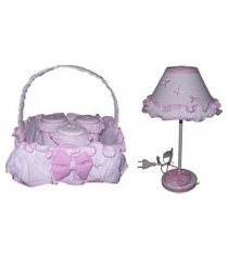 kit higiene bebê rosa unissex com abajur - 5 peças